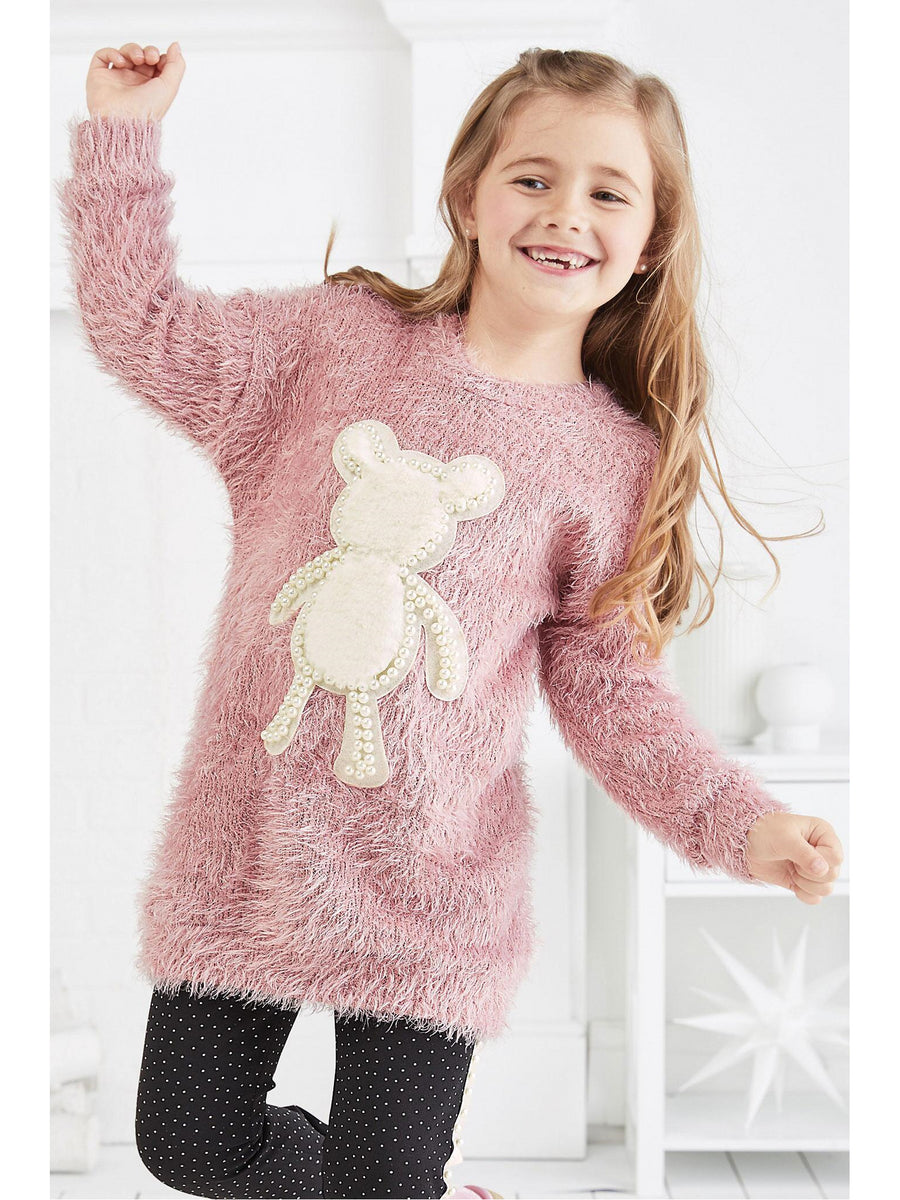 Girls Furry Teddy Bear Tunic Dress