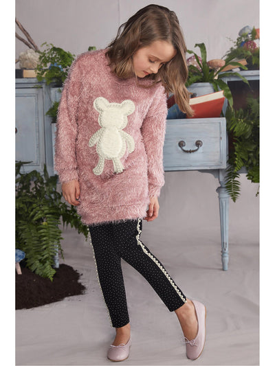 Girls Furry Teddy Bear Tunic Dress  rswo alt2