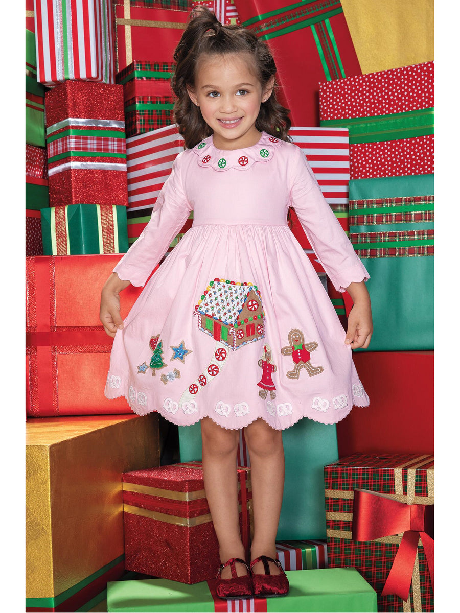 Girls Gingerbread House Cotton Dress