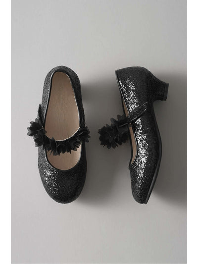 Girls Glitter Flower Mary Janes