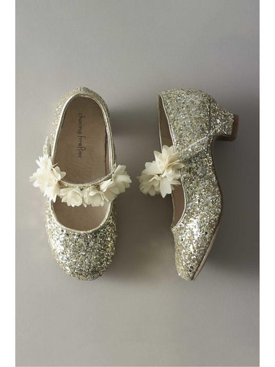 Girls Glitter Flower Mary Janes  ivo 1
