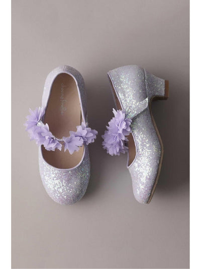 Girls Glitter Flower Mary Janes  lav 1