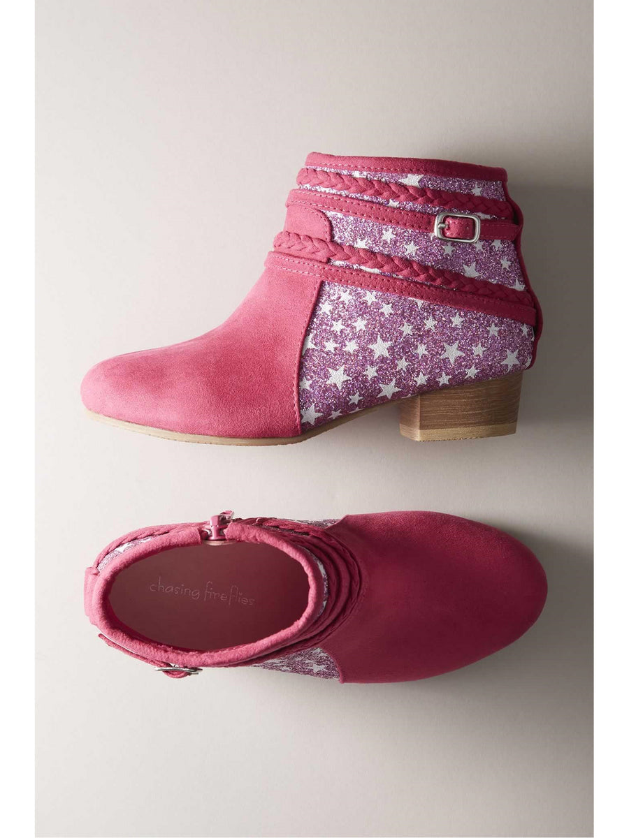 Girls Glitter Star Booties