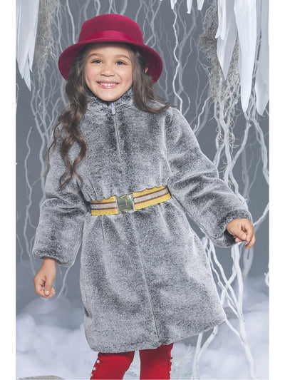 Girls Gray Faux Fur Belted Coat  ash alt1