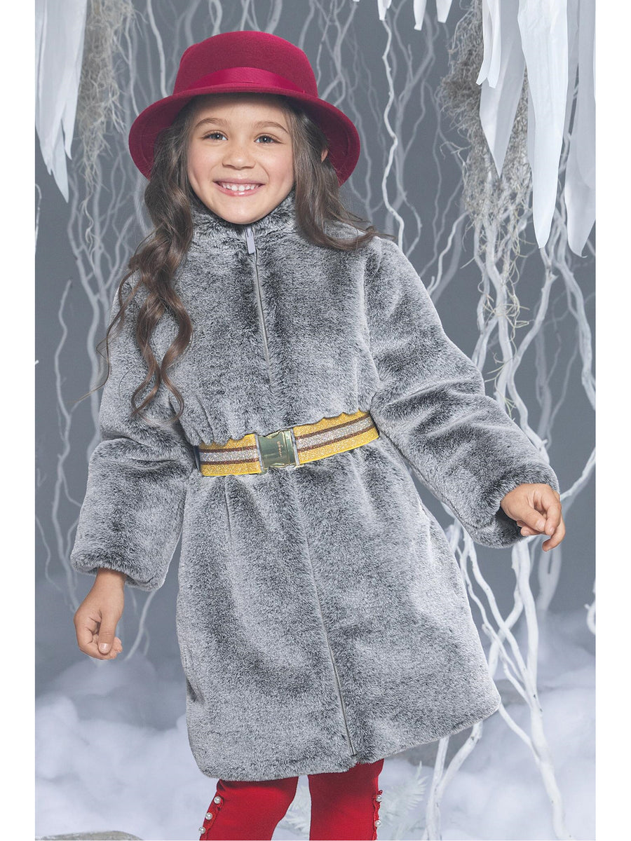 Girls Gray Faux Fur Belted Coat