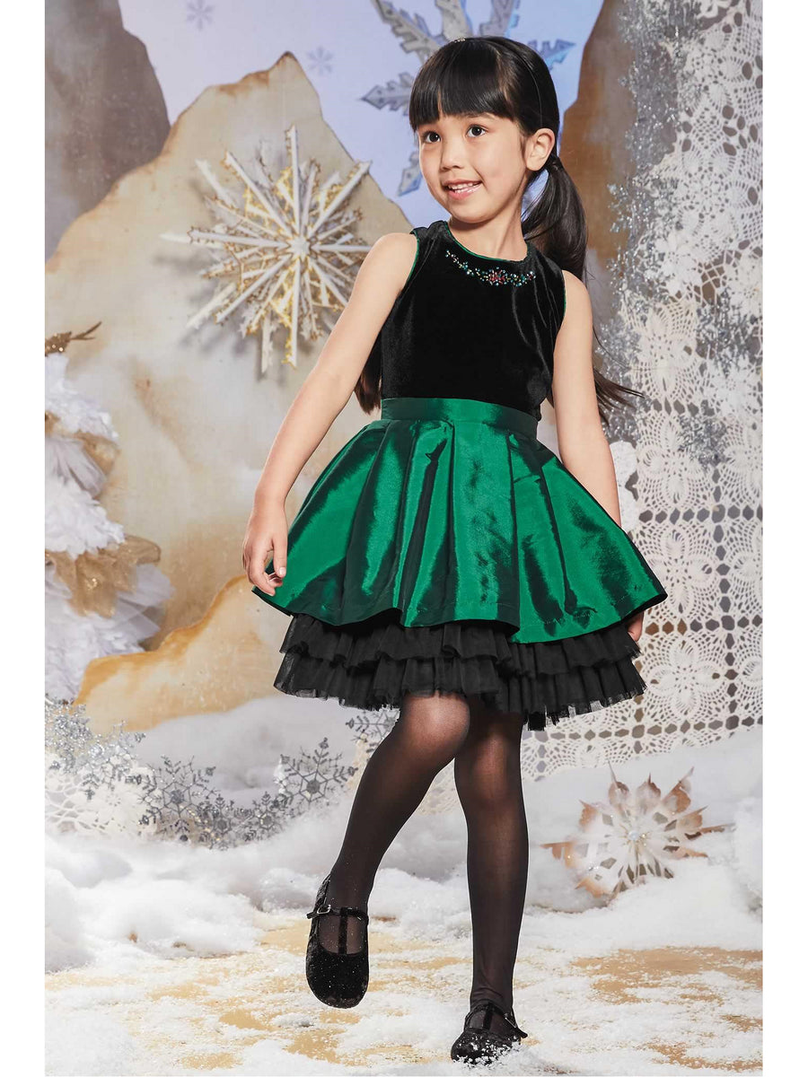 Girls Green Velvet Bodice Dress