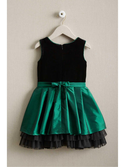 Girls Green Velvet Bodice Dress  gre alt2