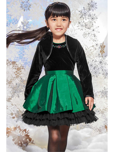 Girls Green Velvet Bodice Dress  gre alt3