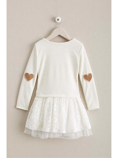 Girls Heart On Her Sleeves Dress  oat alt2
