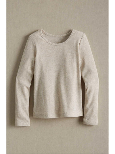 Girls Heather Ribbed Tee  oat 1