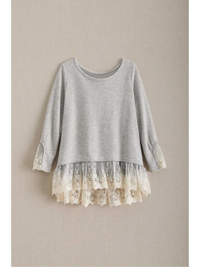Girls Heathered Lace Top