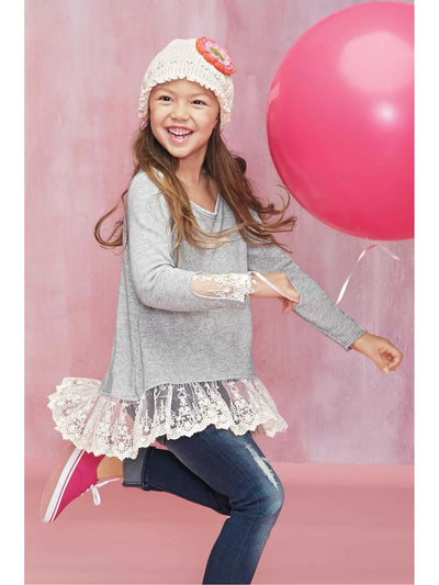 Girls Heathered Lace Top  hgr alt1