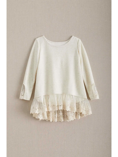 Girls Heathered Lace Top  oat 1