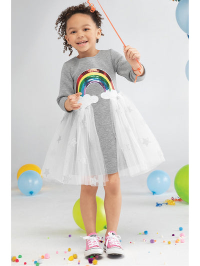 Girls Her Own Rainbow Dress  grey alt2