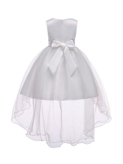 Girls High-Low Hem Dress  white alt2