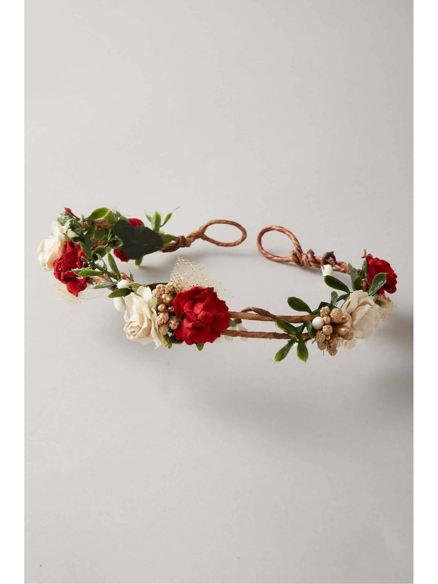 Girls Holiday Flower Crown Headband