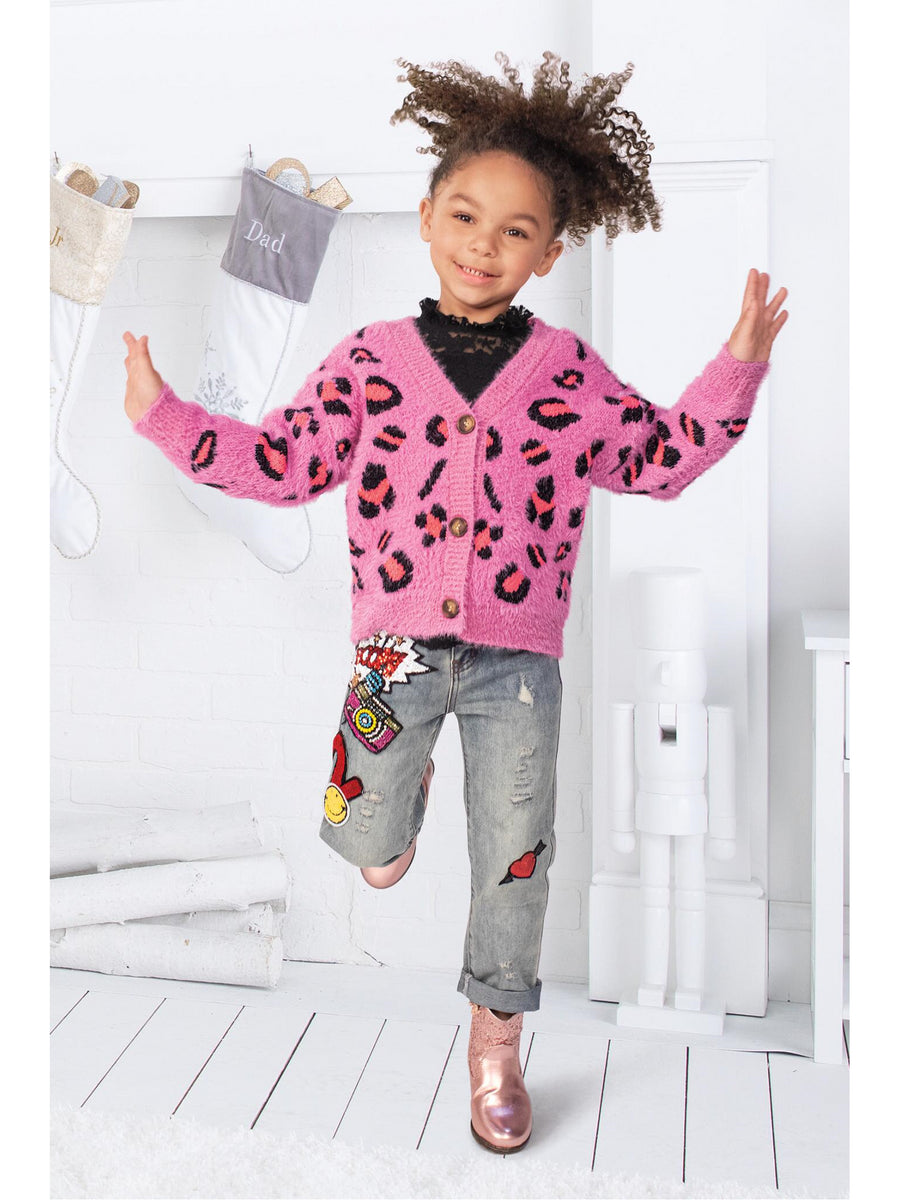 Girls Hot Pink Leopard Cardigan