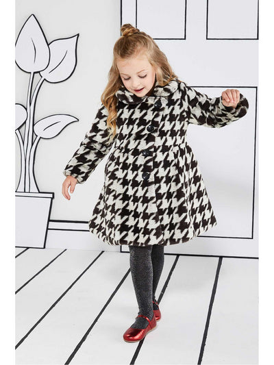Girls Houndstooth Faux-Fur Coat