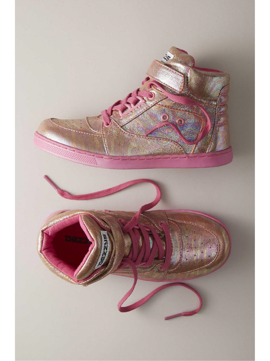 Girls Iridescent High-Top Sneakers