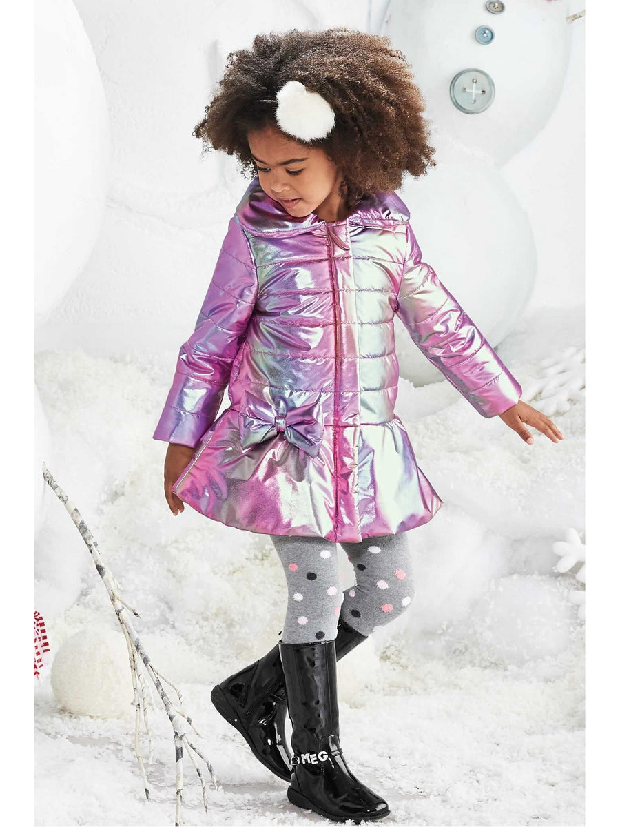 Girls Iridescent Metallic Puffer Coat