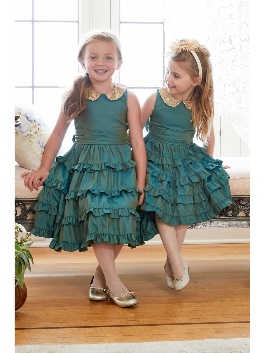 Girls Iridescent Ruffled Dress