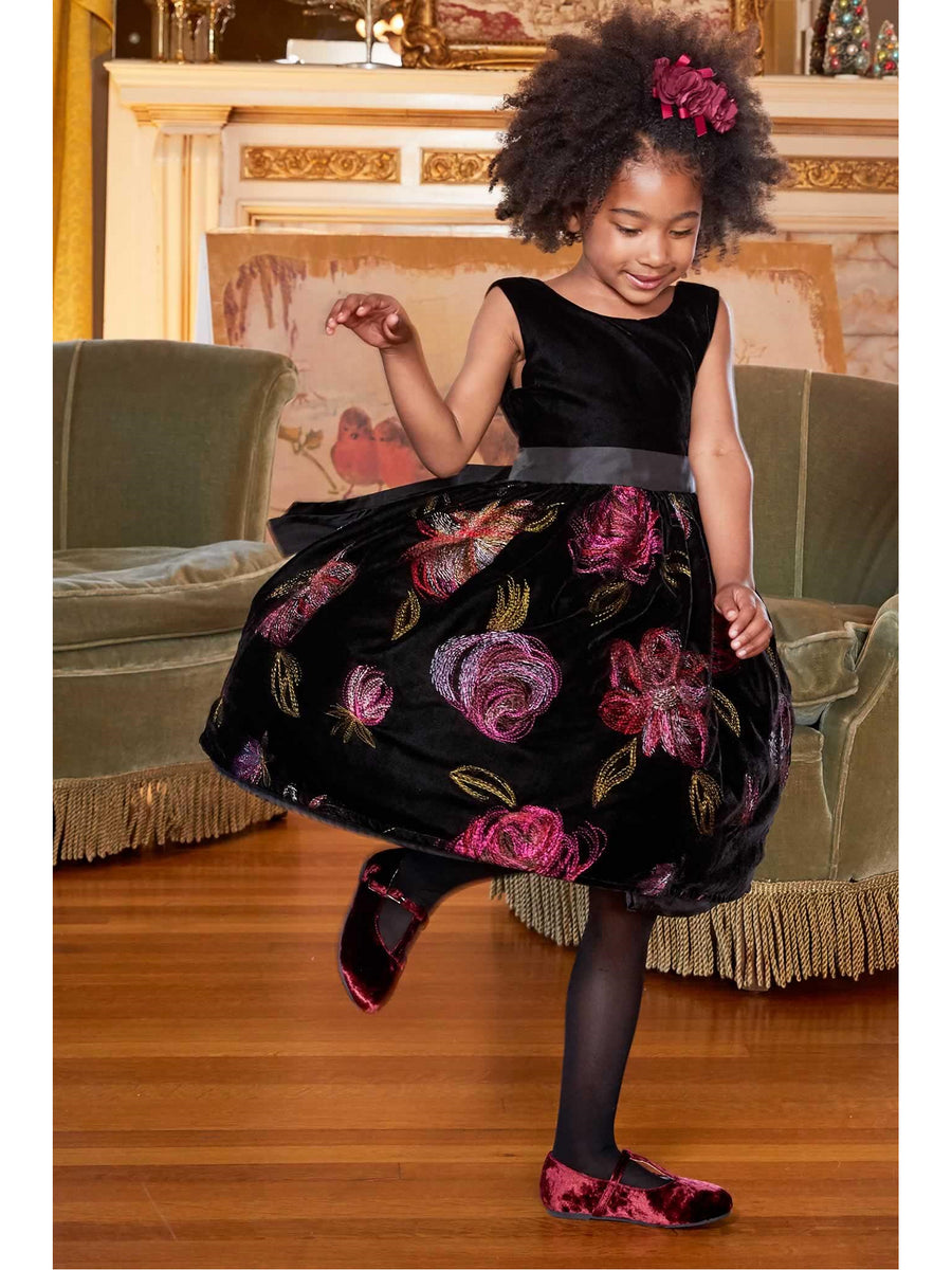 Girls Isabel Garreton® Velvet & Roses Dress