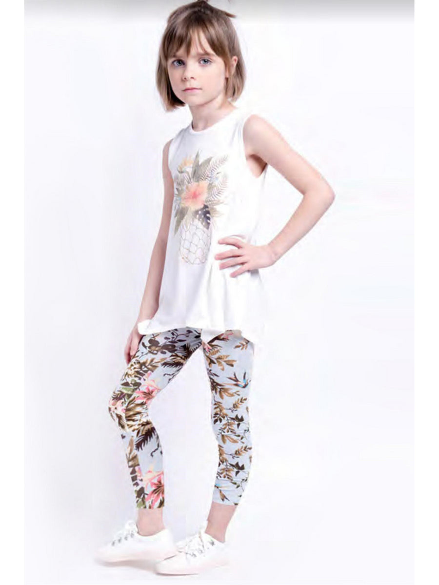 Girls Island Floral Leggings