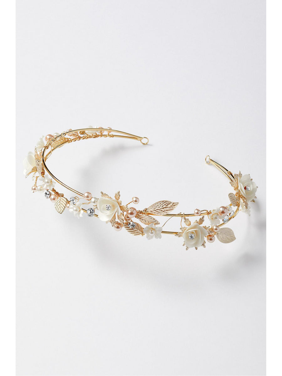 Girls Ivory Blossoms & Pearls Tiara