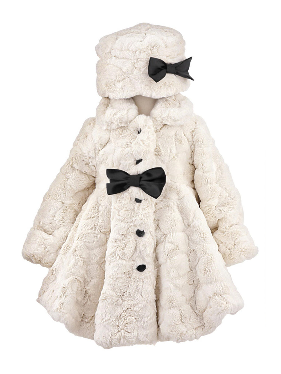 Girls Ivory Faux-Fur Coat & Hat Set