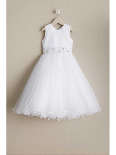 Girls Jeweled Waist Dress  whi alt1