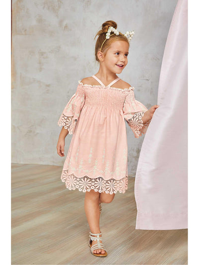 Girls Juliet Lace Trim Dress  peach 1
