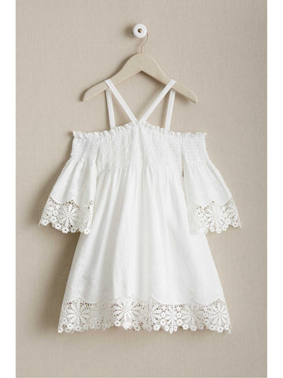 Girls Juliet Lace Trim Dress  whi 1