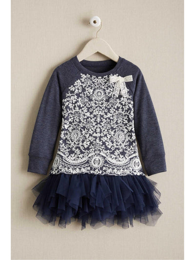 Girls Lace Bodice Knit Dress