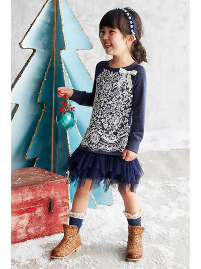 Girls Lace Bodice Knit Dress  nav alt1