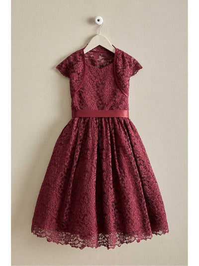 Girls Lace Dress & Shrug Set
