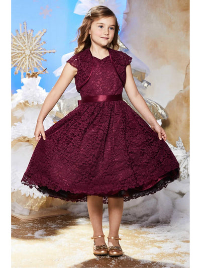 Girls Lace Dress & Shrug Set  bur alt1