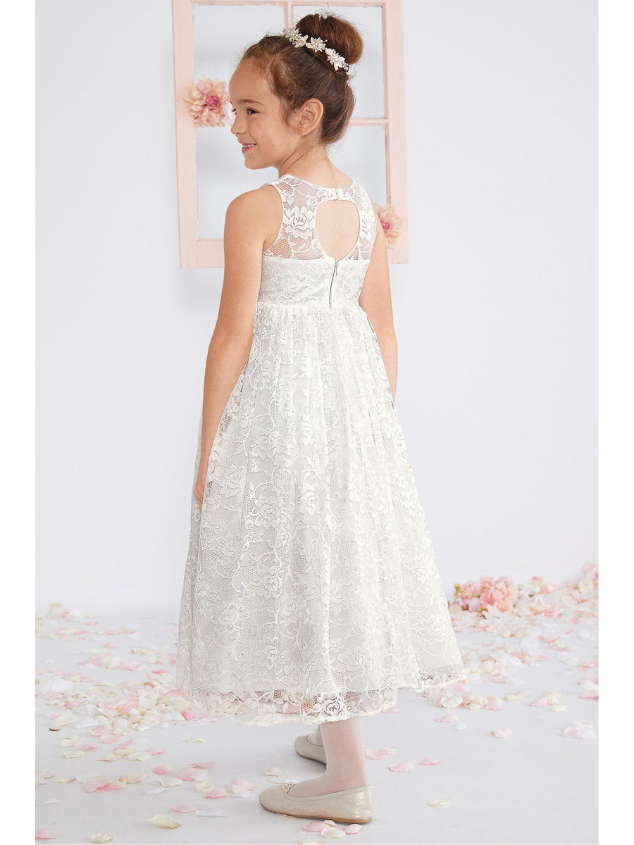 Girls Lace Keyhole-Back Dress