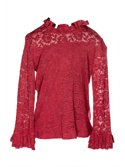 Girls Lace Overlay & Ruffles Top  red 1