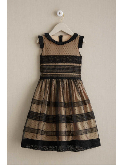 Girls Ebony Lace Panel Dress