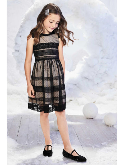 Girls Ebony Lace Panel Dress  bla alt1