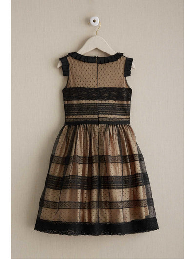 Girls Ebony Lace Panel Dress  bla alt2
