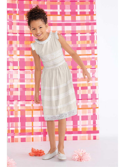 Girls Ebony Lace Panel Dress  ecr 1