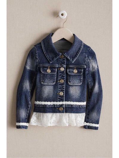 Girls Lace Ruffle Denim Jacket