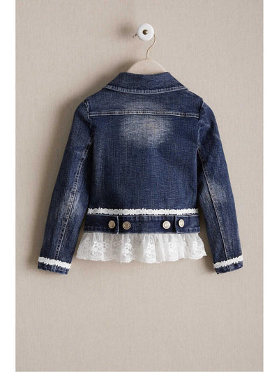 Girls Lace Ruffle Denim Jacket  den alt2