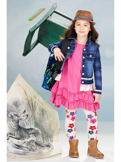 Girls Lace Ruffle Denim Jacket  hpi alt1