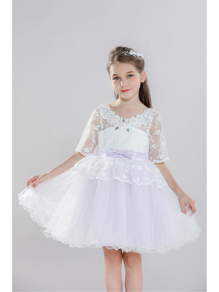 Girls Lace-Sleeve Dress