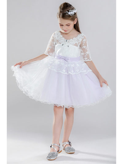 Girls Lace-Sleeve Dress  white alt3