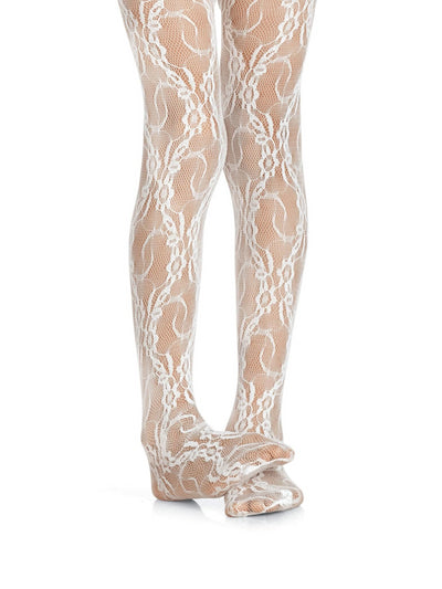 Girls Lace Tights  whi 1