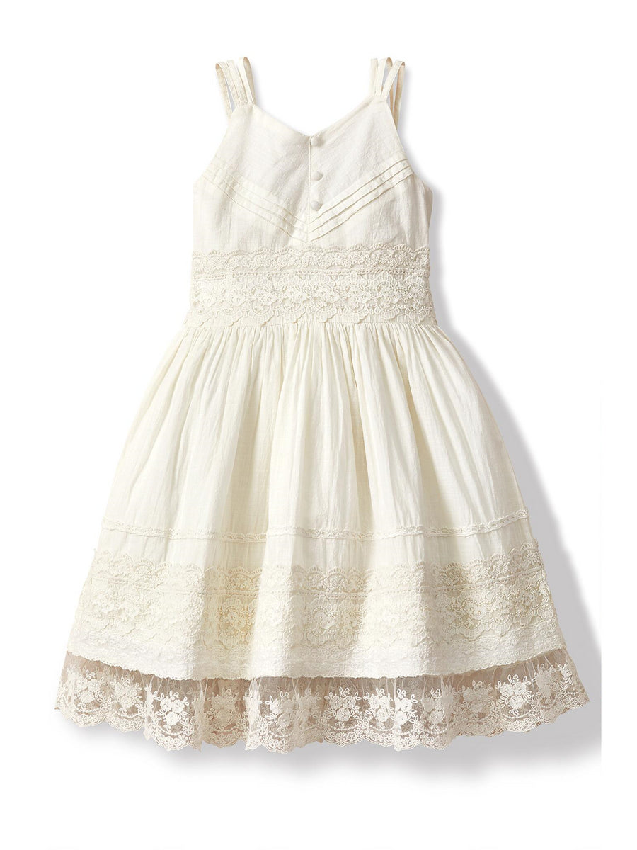 Girls Lace Trim Pintuck Dress