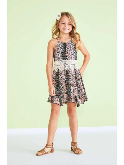 Girls Lace Trim Tiny Blossoms Dress